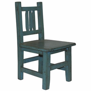 Rustic Blue Lacquered Child's Chair