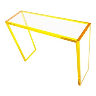 Yellow and Clear Lucite Console