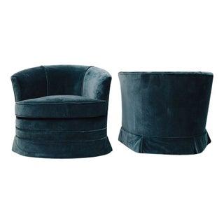 Pair of Vintage Teal Blue Tub Chairs