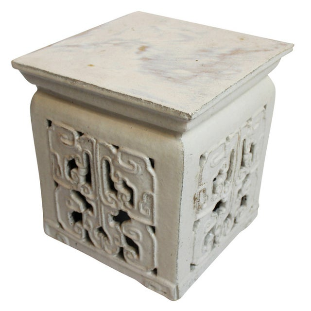Image of White Ceramic Garden Stool