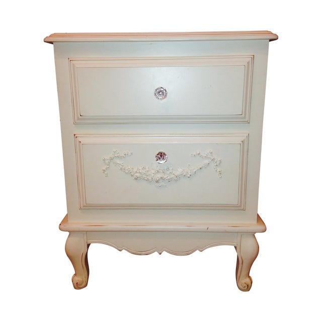 Image of Antiqued White Wood Bedside Table