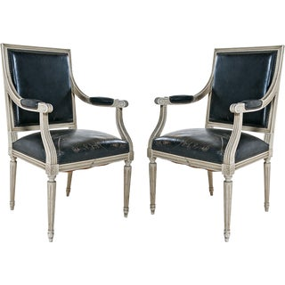 Louis XVI Style Painted Armchairs - A Pair