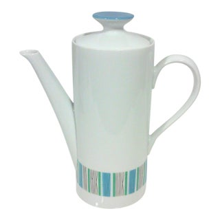 Mid-Century Blue and White Porcelain Coffee Pot
