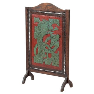 Early 20th C. Vintage Hand Painted Dragon Leather Screen