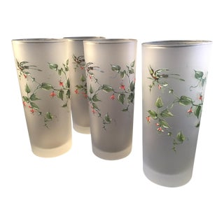 Vintage Floral Frosted Highball Glasses- Set of 4