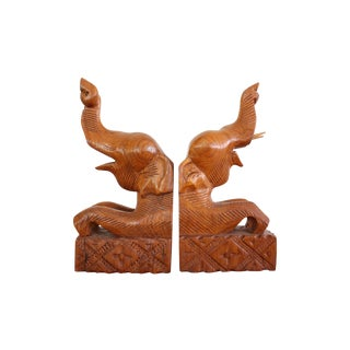 Vintage Carved Elephant Bookends