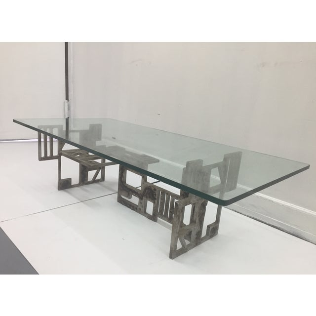 Brutalist Base With Glass Top Coffee Table - Image 2 of 4