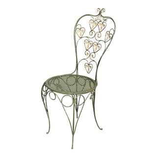 Green Wrought Steel Floral Garden Chair