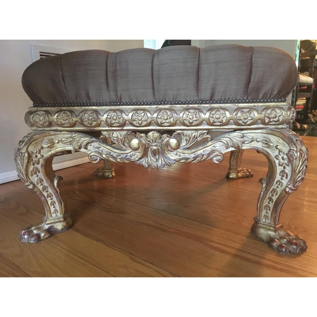 Empire Lion Paw Giltwood Tufted Ottoman - Image 4 of 10