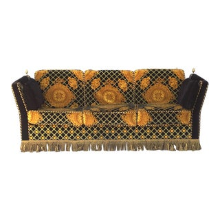 Versace Style Plush-Upholstered Flaired Arm Tuxedo Knole Sofa by Stefano Giovanni