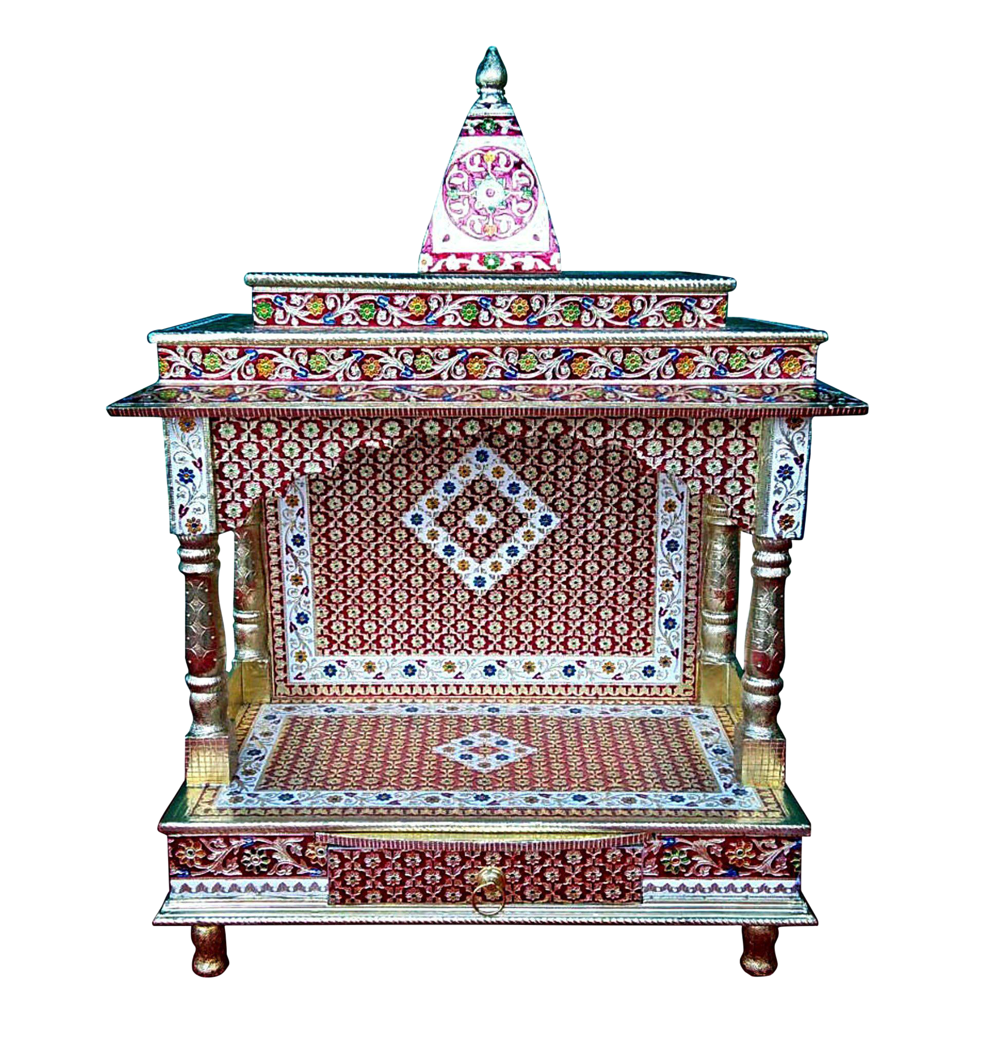 Meenakari Multicolor Home Puja Mandir Hindu Temple Mandapam Altar   Image 1  Of 3