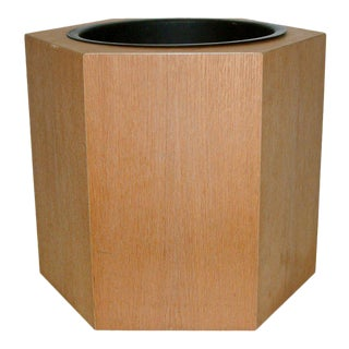 Circa 1970s Paul Mayen Hexagonal Oak and Aluminum Planter