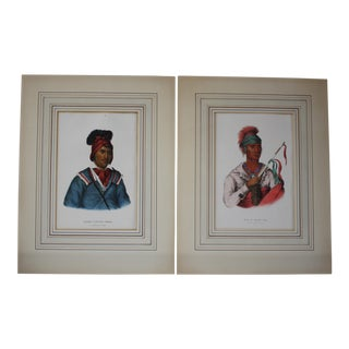 McKenney/Hall North American Indian Lithograph Prints- A Pair