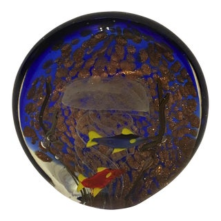 Murano Glass Fish & Jellyfish Paperweight Aquarium