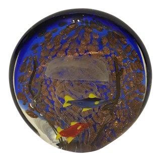 Murano Glass Fish & Jellyfish Paperweight Aquarium