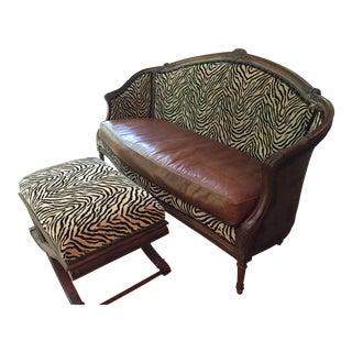 Zebra Print Couch & Ottoman
