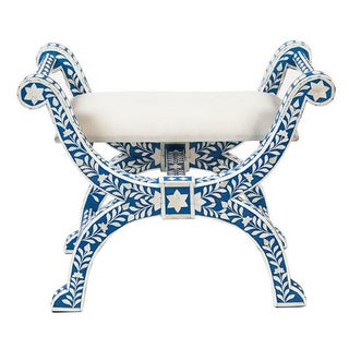 Bone Inlaid Blue Regency Stool