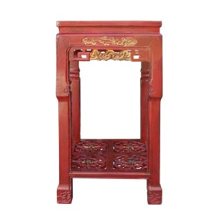Chinese Red Carved Wood Pedestal Plant Stand