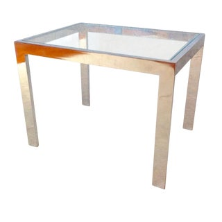 Vintage Panton Era Chrome & Glass Accent Table