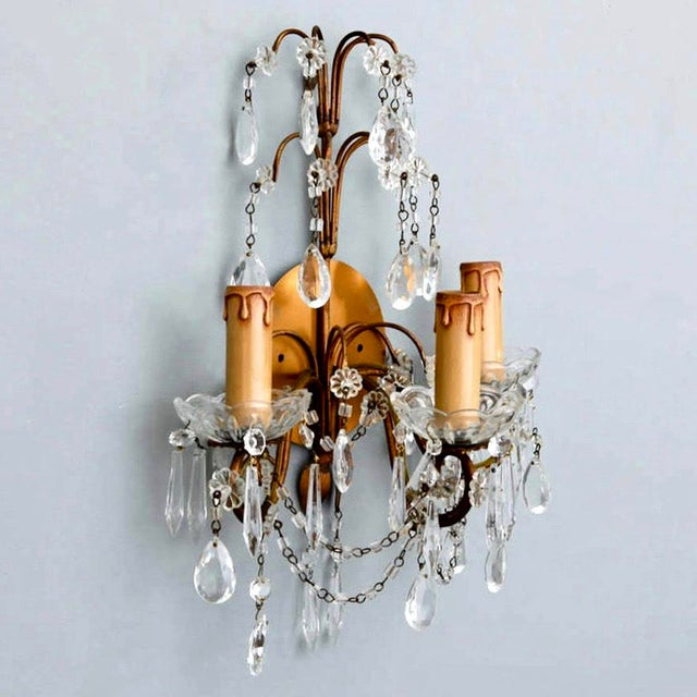 Pair of French Three-Arm Crystal and Brass Wall Sconces - Image 5 of 6