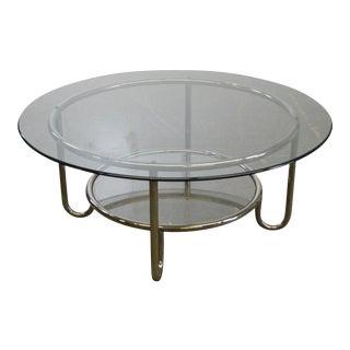 Art Deco Round Tubular Chrome Glass Top Coffee Table