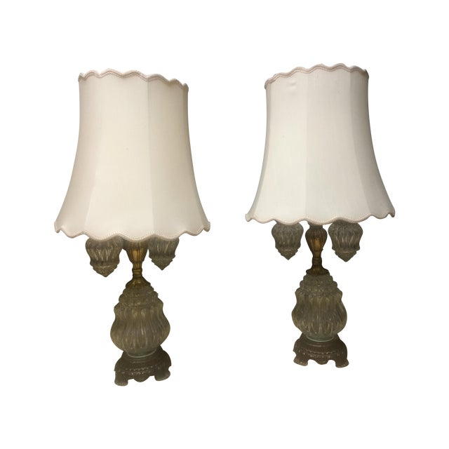 Vintage Brass & Crystal Lamps - Pair - Image 1 of 11