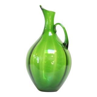 Winslow Anderson for Blenko Olive Green 'Optic' Pitcher