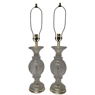 Leaded Crystal Lamps with Gold Trim - A Pair