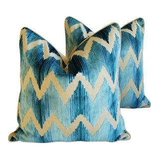 Boho Chic Chevron Flamestitch Cut Aqua Velvet Pillows - Pair