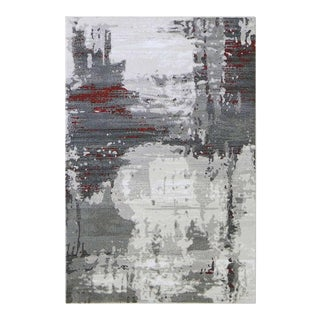 Abstract Gray Rug With Red Stripes - 5'3'' x 7'7''