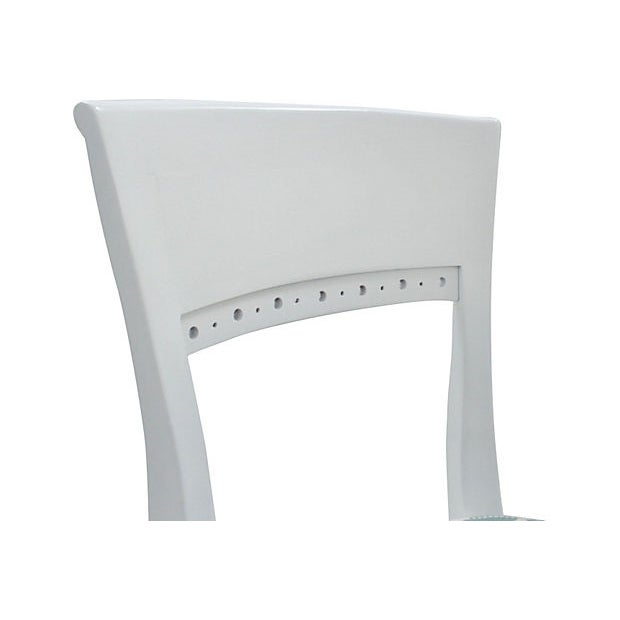 White Morrocan Stripe Dining Chairs, S/6 - Image 5 of 6
