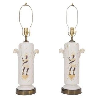 Pair of Glazed Blackamoor Lamps