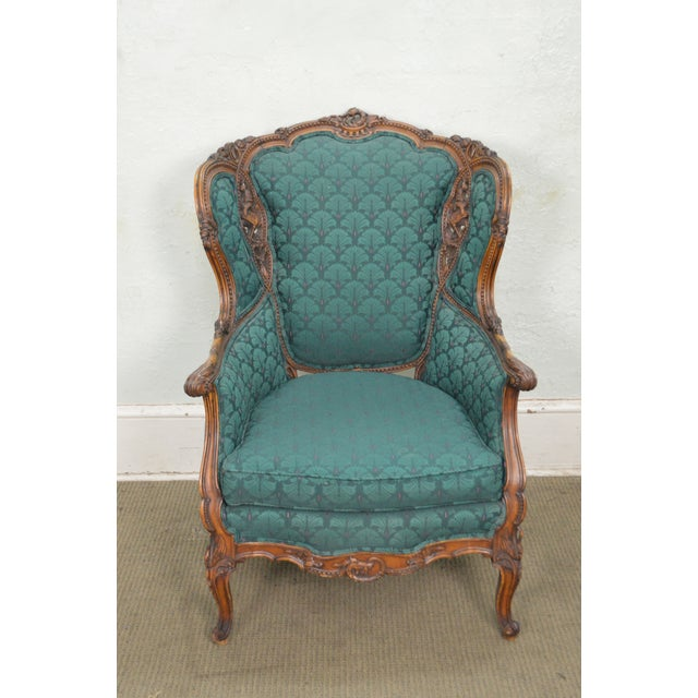 Antique Carved Rococo Style Wing Chair - Image 9 of 10