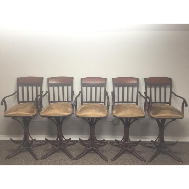 Custom Suede Bar Stools - Set of 5 - Image 2 of 5
