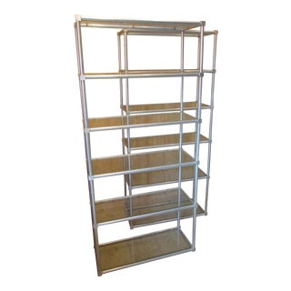 Mid-Century Modern Brushed Aluminum Shelf - A Pair