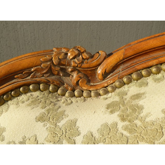Antique Carved French Louis XV Style Barrel Back Bergere Chair - Image 8 of 11