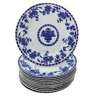 Antique Flow Blue Dessert Plates - Set of 12