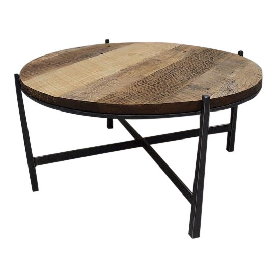 Modern Reclaimed Barnwood Round Industrial Iron Base