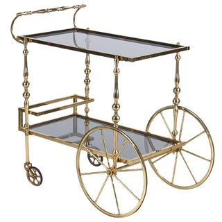 Mid-Century Brass Bar Cart from Spain