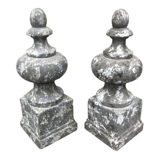 Decorative Garden Finials With Vertigris Finish - A Pair