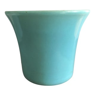 Mid Century Teal Pottery Planter