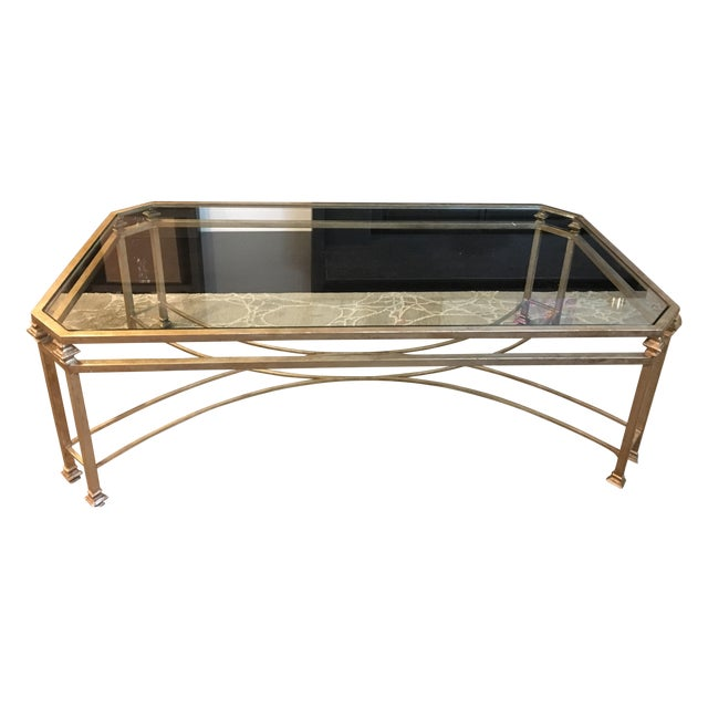Vintage Metal And Glass Coffee Table
