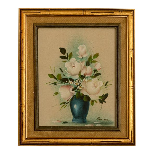 Vintage Floral Oil Painting on Canvas - Image 1 of 3