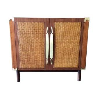 Mid Century Walnut Wicker Brass Bar Cabinet