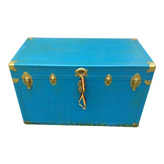 Shabby Chic Vintage Blue Steamer Trunk