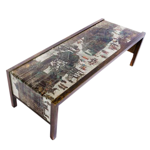 1960S PHILIP AND KELVIN LAVERNE ETCHED BRONZE WATERFALL COFFEE TABLE