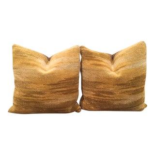 "Scalamandre Colony Collection Oro ""Tibet"" Velvet Pillows- A Pair"