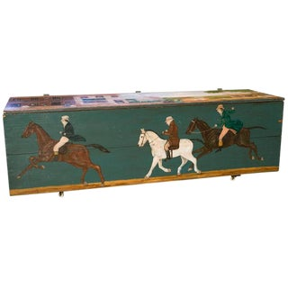 Antique Blanket Chest with Equestrian Scene Hand-Painted by American Folk Artist Lew Hudnall