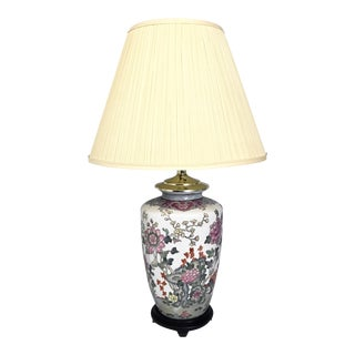 Floral Chinoiserie Hand Painted Asian Style Table Lamp