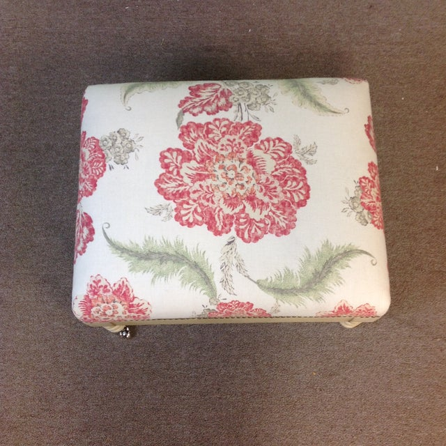 Lillian August Tufted Upholstered Floral Ottoman - Image 6 of 7